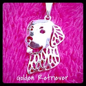 New Silver Golden Retriever Pendant Necklace